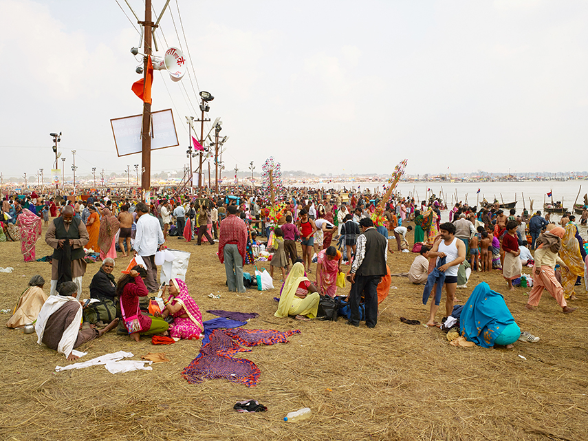 Pilgrims bathing, Sangam main bathing area